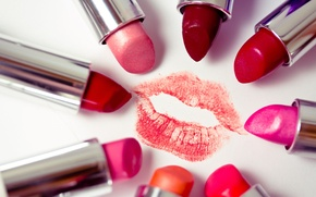 Wallpaper RED, IMPRINT, SCARLET, PINK, COSMETICS, LIPSTICK, COLOR, LIPS, TRAIL