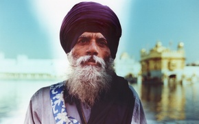 Picture man, bearded, turban, sikh