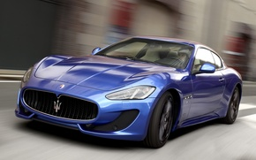 Picture Maserati, Road, Blue, Sport, Machine, Movement, Machine, Maserati, Car, Car, Cars, Blue, GranTurismo, Sport, Cars, …
