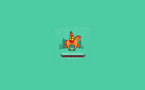 Picture snow, horse, new year, Christmas, gifts, Christmas trees
