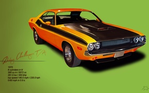 Picture power, Dodge, Challenger, classic, 1970, muscle