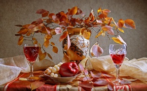 Picture leaves, wine, Apple, bouquet, Autumn, glasses, grapes, vase, still life, two, date, dimitorrr