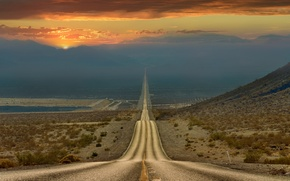 Picture road, the sky, desert, the evening, CA, USA, state, Death Valley
