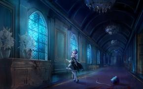 Picture girl, castle, the demon, anime, art, Rem, Re: Zero kara hajime chip isek or Seikatsu