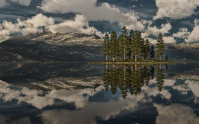 Picture clouds, trees, mountains, lake, reflection, rocks, island, spruce, art