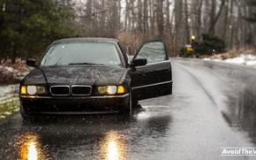 Picture road, snow, overcast, Boomer, seven, e38, bumer, bmw 740