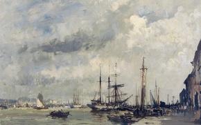 Picture ship, picture, seascape, the urban landscape, Edward Seago, Marina in Lisbon