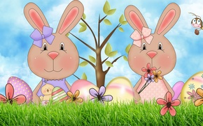 Picture tree, egg, art, Easter, bee, Bunny, bow, chicken, flower, Easter Bunny