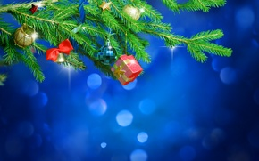 Picture branches, gift, balls, tree, bell, Christmas decorations, box