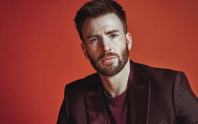 Wallpaper jacket, actor, Chris Evans, background, beard, Chris Evans, portrait