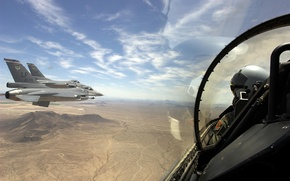 Picture the sky, landscape, mountains, nature, Wallpaper, desert, fighters, panorama, wallpaper, cabin, pilot, flight, aircraft