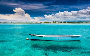 Picture the sky, the ocean, shore, boat