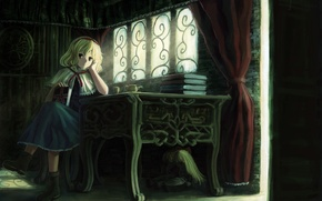 Picture girl, table, room, books, doll, the door, art, Cup, touhou, alice margatroid, oto taku, shanghai, …