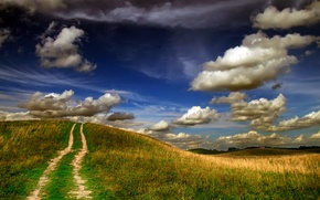 Picture road, autumn, hill