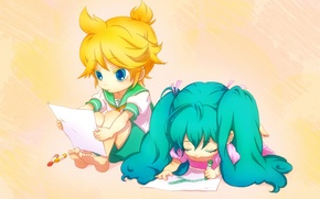 Picture children, figure, boy, art, girl, vocaloid, hatsune miku, Vocaloid, crayons, students, kagamine len