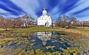 Picture trees, nature, Belarus, Minsk, The Holy Virgin Church, Of The Republic Of Belarus