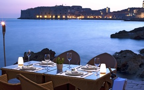 Picture sea, the city, table, wine, shore, the evening, dinner