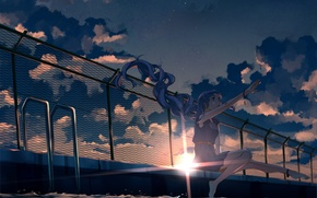 Picture the sky, girl, the sun, clouds, sunset, the fence, anime, pool, art, vocaloid, hatsune miku, …