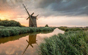 Picture sunset, mill, reed, channel, abandoned