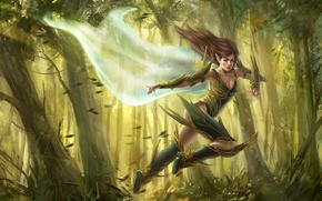 Picture forest, girl, the wind, fantasy, art, running, elf