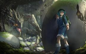 Picture forest, girl, trees, nature, dragon, eggs, anime, art, touhou, kawashiro nitori, kaatos production