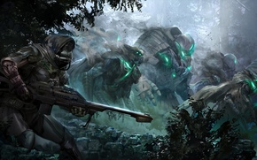 Picture forest, weapons, robot, army, war, mask, concept art, Destiny