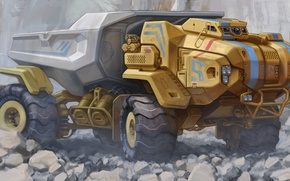 Picture stones, truck, the front, Sci-Fi, dump truck