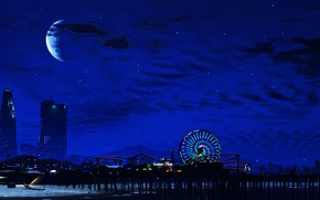 Picture landscape, night, city, the city, the moon, Night, GTA V, grand theft auto v, The …