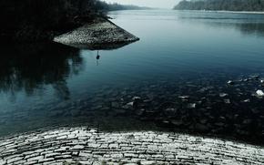 Picture road, trees, lake, masonry, index, stones