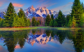 Picture spruce, USA, snow, mountains, reflection, trees, lake, Wyoming, grand teton national park, the sky, clouds