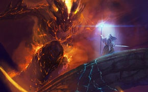 Picture bridge, Balrog, fight, Gandalf, Lord of the rings
