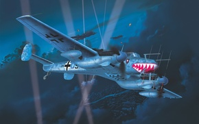 Picture war, art, painting, aviation, ww2, Messerschmitt Bf 110 G-4 Night Fighter