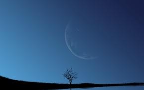 Wallpaper the moon, the sky, lake, blue