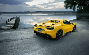 Wallpaper wallpapers, Rosso, yellow, car, Novitec, Ferrari, back, 488, Spider, pier, car, the sky, yellow