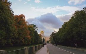 Picture autumn, clouds, sunset, Peter, Saint Petersburg, Pushkin, the Golden domes