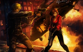 Picture shooting, resident evil, Ada Wong, Ada Wong, Leon Kennedy, Leon Kennedy