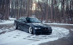 Picture bmw, forest, tuning, germany, low, stance, e36