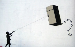 Wallpaper Banksy, Fridge Kite, Graffiti
