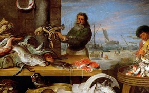 Wallpaper Fish Market, picture, Fragment, genre, Cornelis de Vos