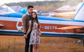 Picture Love Story, girl, the plane, guy