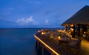 Picture the ocean, the evening, pier, restaurant, The Maldives, resort, Bungalow