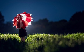 Picture field, girl, light, umbrella, dress, silhouette