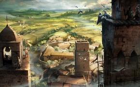 Picture birds, murder, tower, landscape. summer, Assasins creed