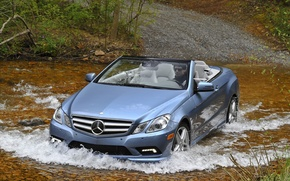Picture forest, water, machine, squirt, river, mercedes e550, Mercedes