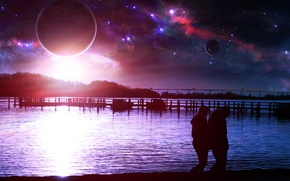 Picture sea, beach, space, stars, Planet, QAuZ