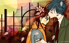 Picture kiss, petals, scarf, piercing, costume, two, ring, art, ai yazawa, Nan, nana, nana komatsu, shinichi …