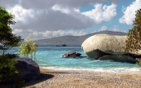 Picture sand, sea, trees, hills, stone, ship, art, klontak