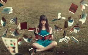 Wallpaper background, girl, books