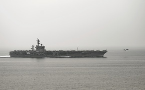 Picture weapons, army, Navy, FA-18C Hornet, USS Dwight. D. Eisenhower (CVN 69)