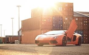 Picture the sky, the sun, orange, lamborghini, Blik, front view, containers, orange, aventador, lp700-4, Lamborghini, aventador